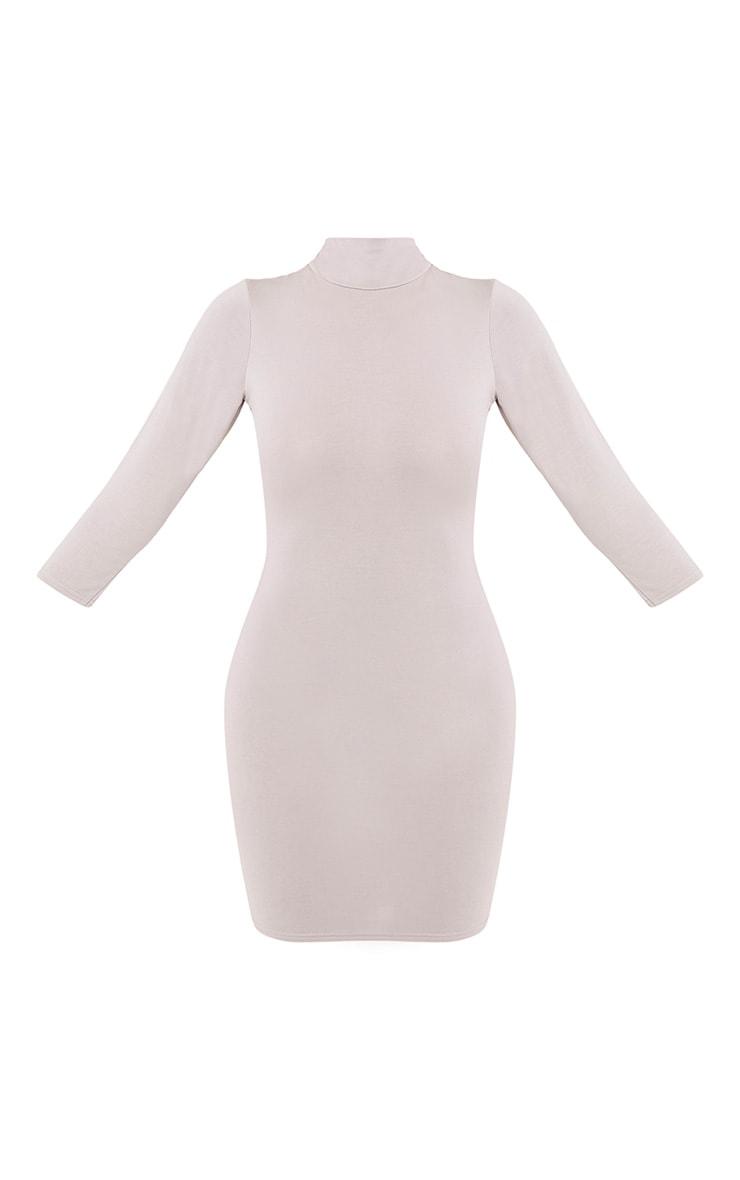 Basic Dove Grey High Neck Jersey Mini Dress 3