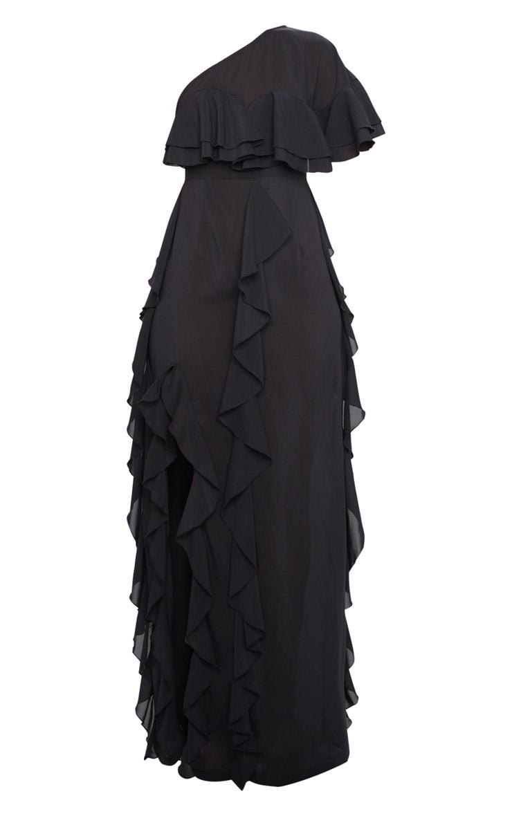 Black One Shoulder Ruffle Detail Maxi Dress 5