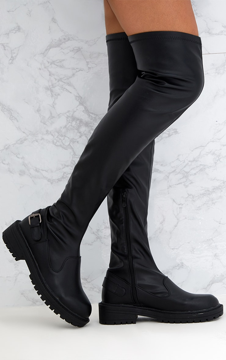 Black PU Buckle Detail Chunky Over The Knee Boots 1
