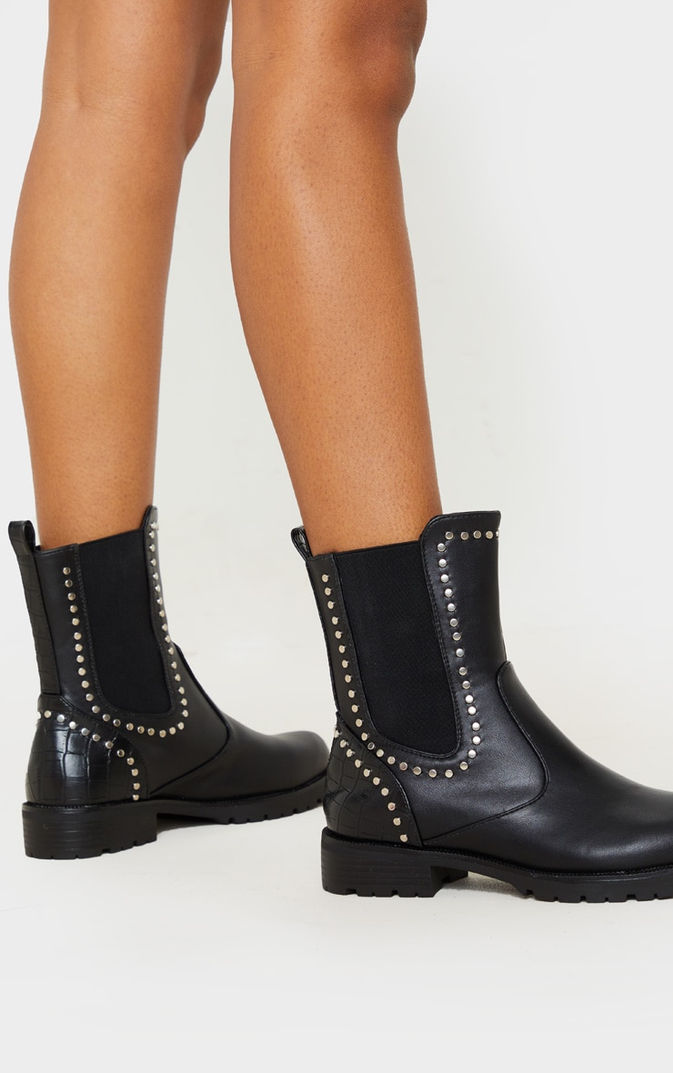Black Studded Chelsea Cleated Biker Boot 1