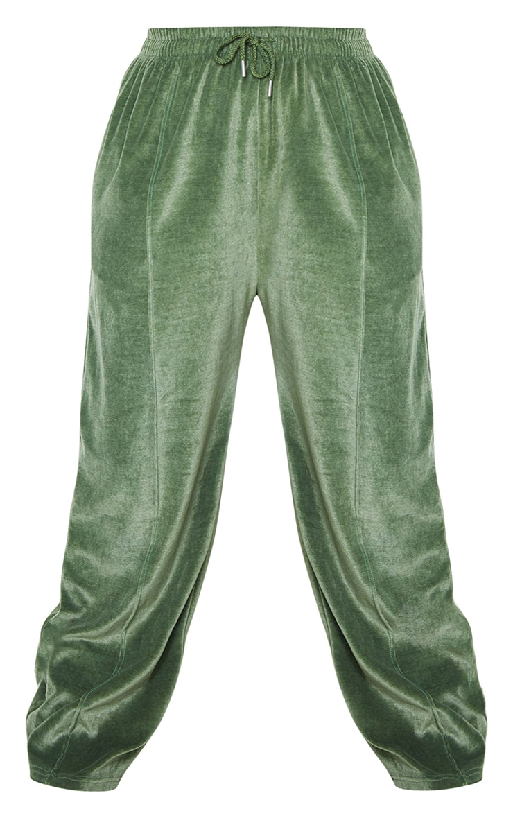 Plus Olive Towelling Wide Leg Joggers 5