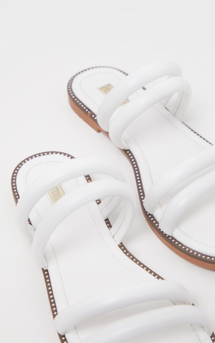 White Tube Strappy Mule Flat Sandal 4