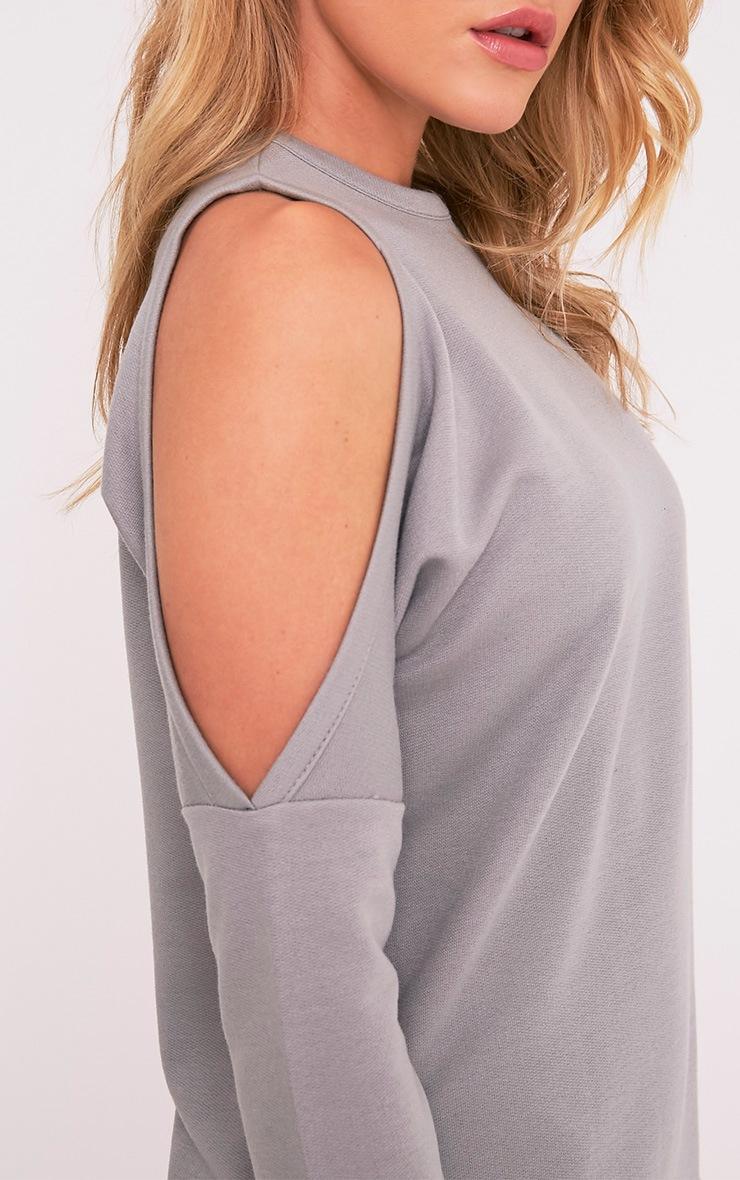 Milene Grey Cold Shoulder Sweater Dress 6