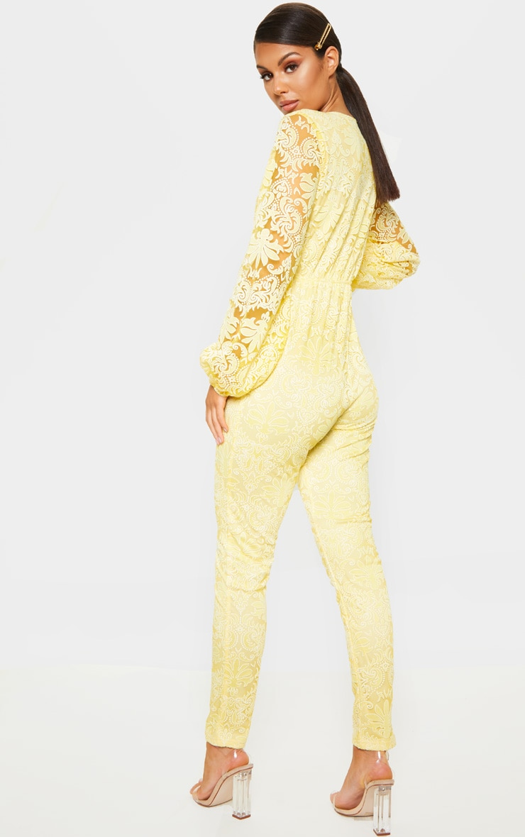 Lemon Sheer Paisley Long Sleeve Jumpsuit 2