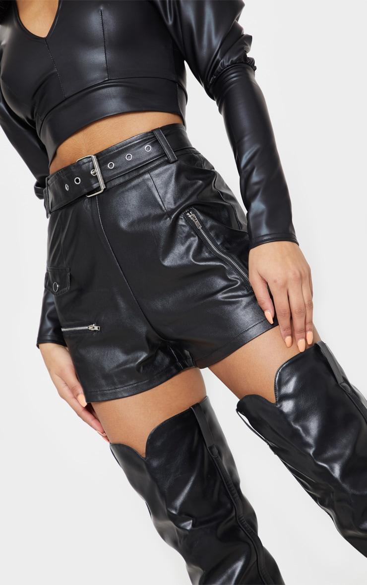 Black Faux Leather Biker Short 6