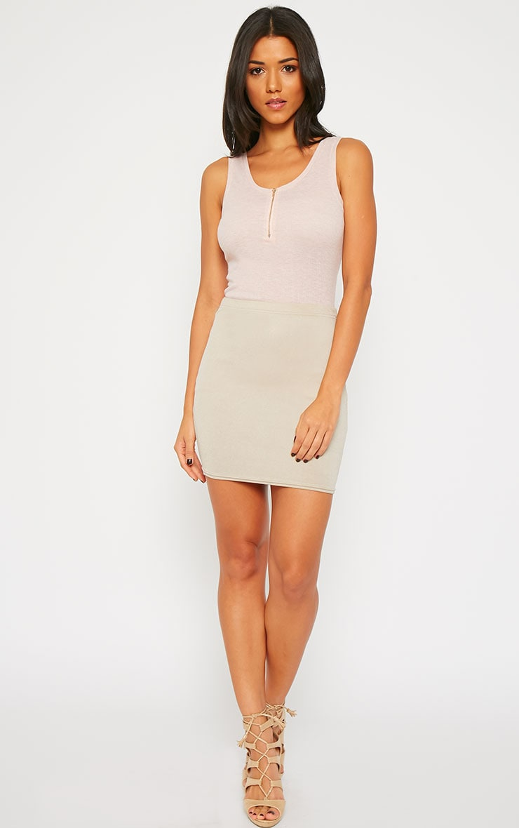 Basic Nude Zip front Ribbed Jersey Vest 4