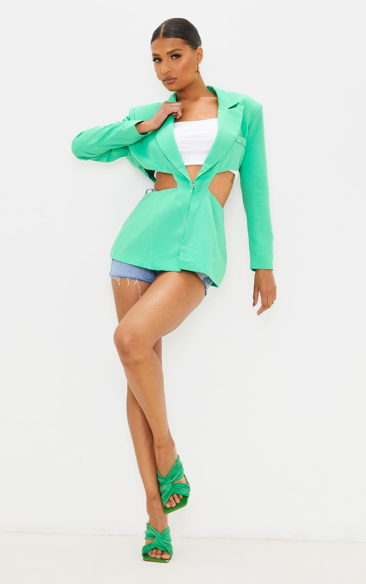 Green Woven Extreme Cut Out Blazer 1