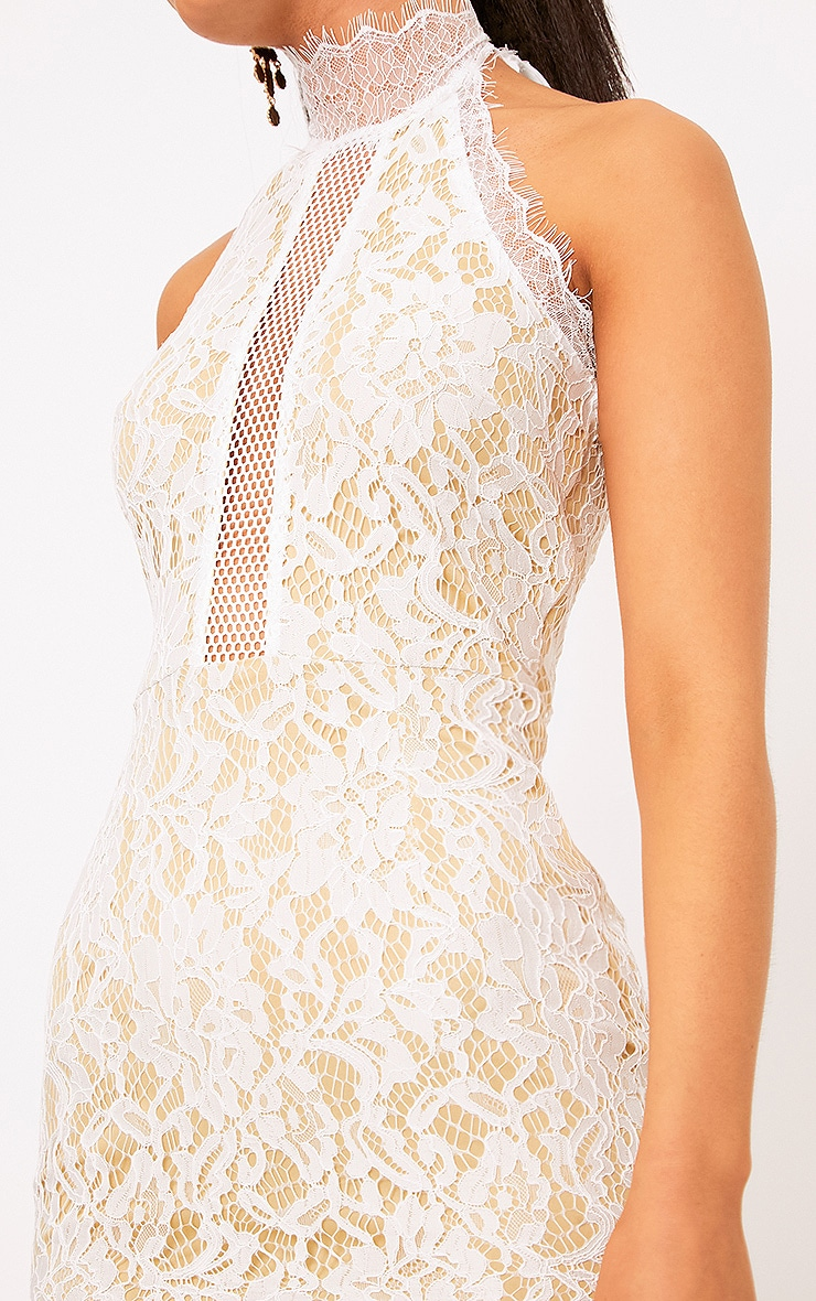 Shelby White Lace High Neck Bodycon Dress 5
