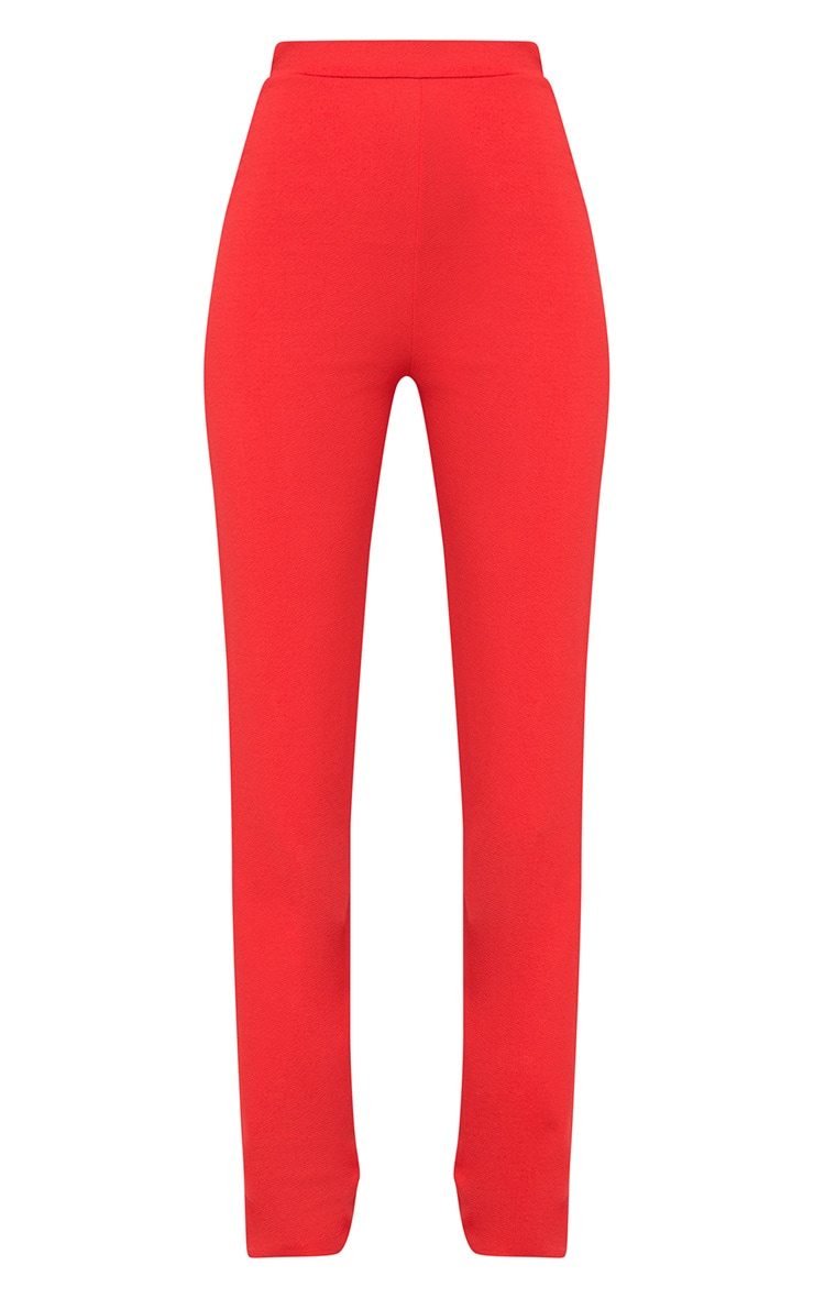 Red Straight Leg Suit Trousers 3