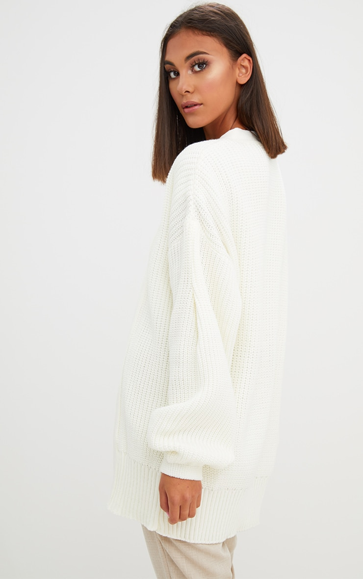 Cream Chunky Long line Knitted Cardigan 2