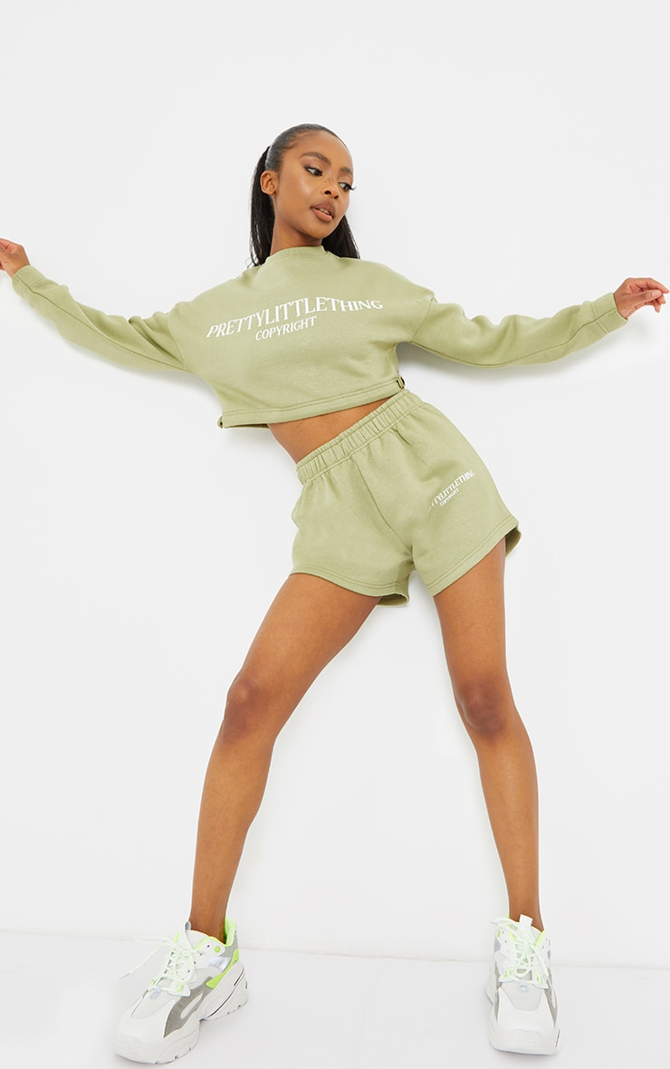 PRETTYLITTLETHING Petite Sage Green Cropped Sweater 3