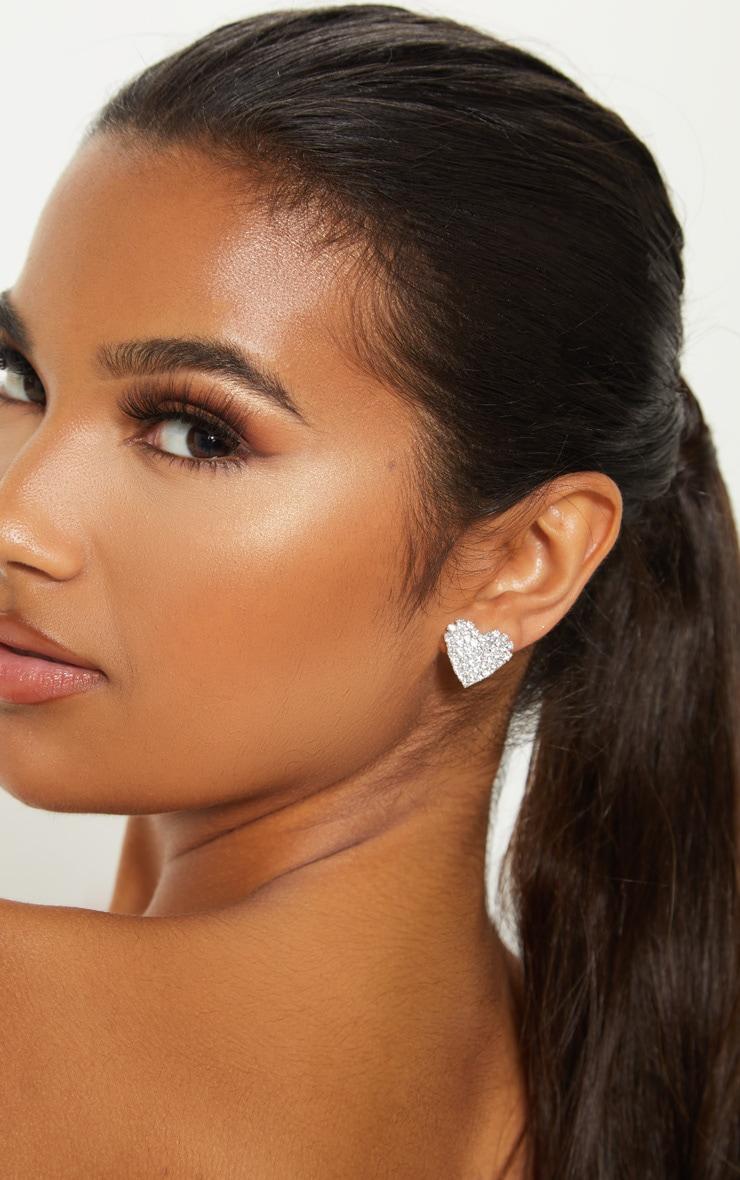 Silver Diamante Heart Stud Earrings 1