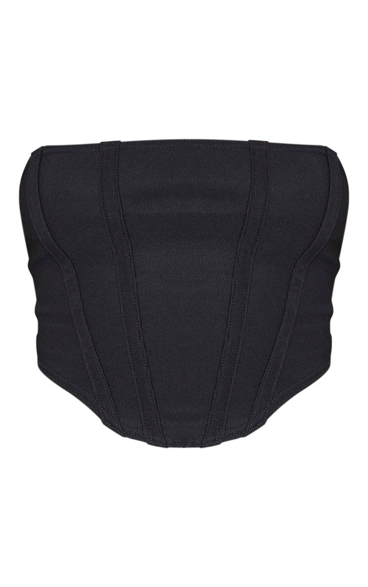 Black Textured Rib Corset Detail Crop Top 3