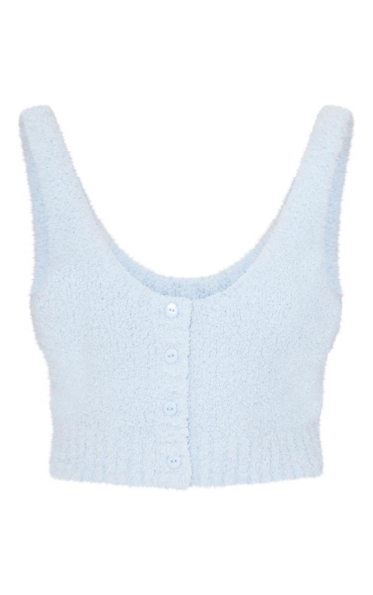 Top Premium en maille tricot fluffy bleu ciel à boutons 5