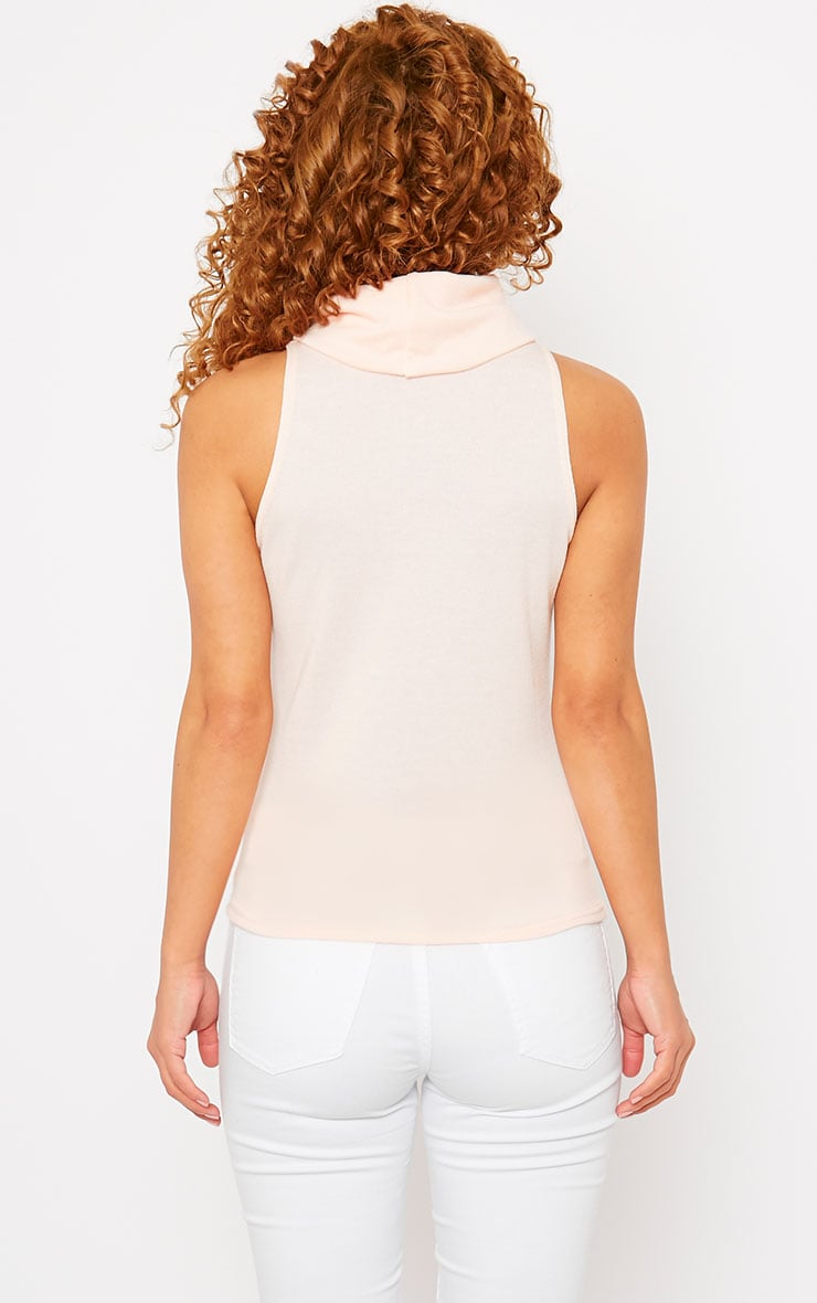 Polly Nude Knitted Roll Neck Sleeveless Top  2