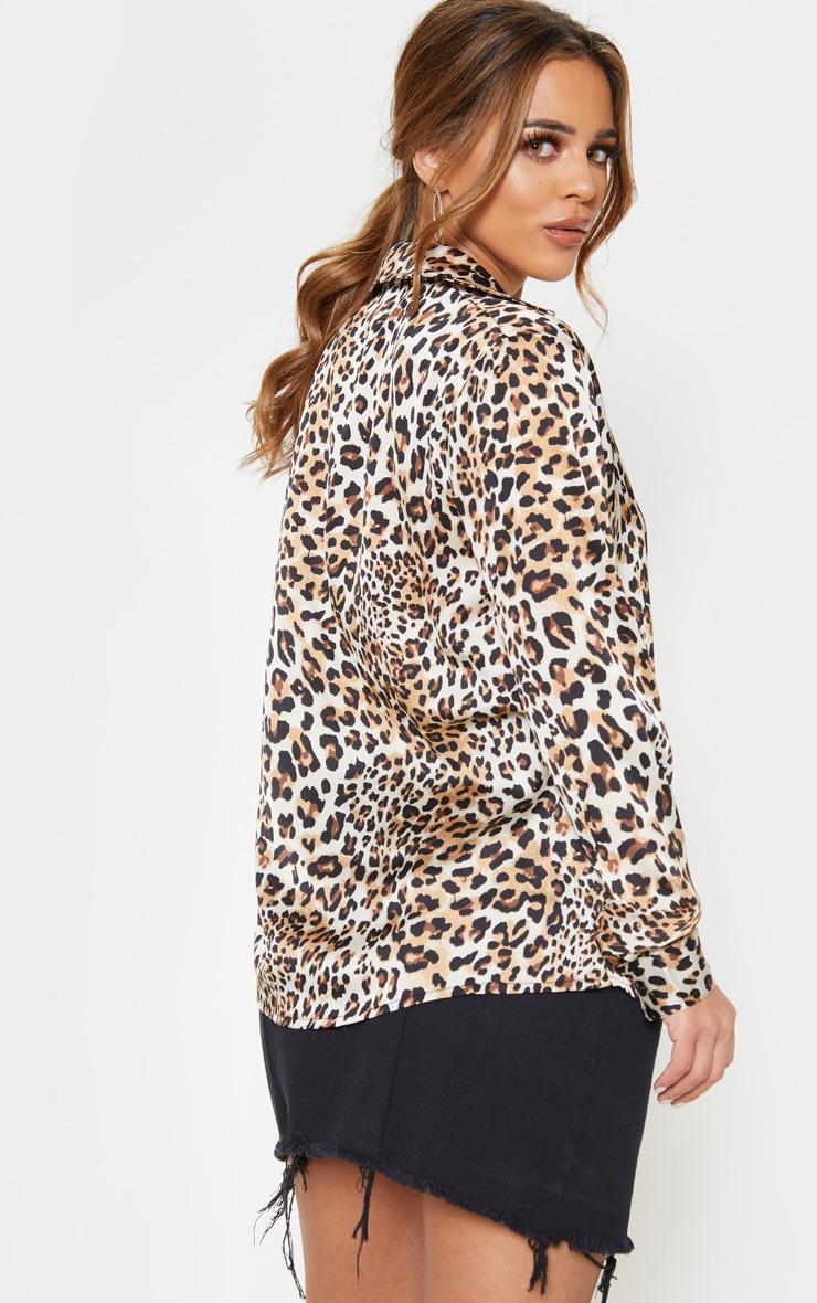 Petite Cream Leopard Print Oversized Pocket Detail Shirt  2