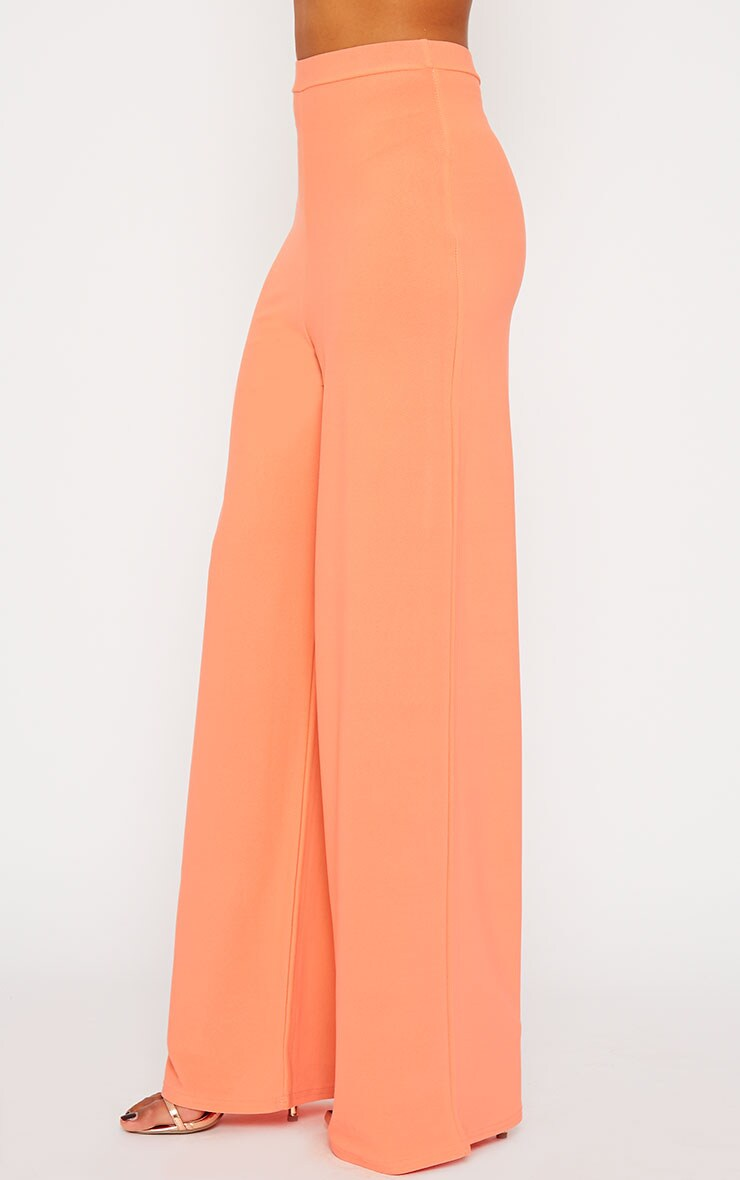 Zafia Orange Crepe Palazzo Trousers 3