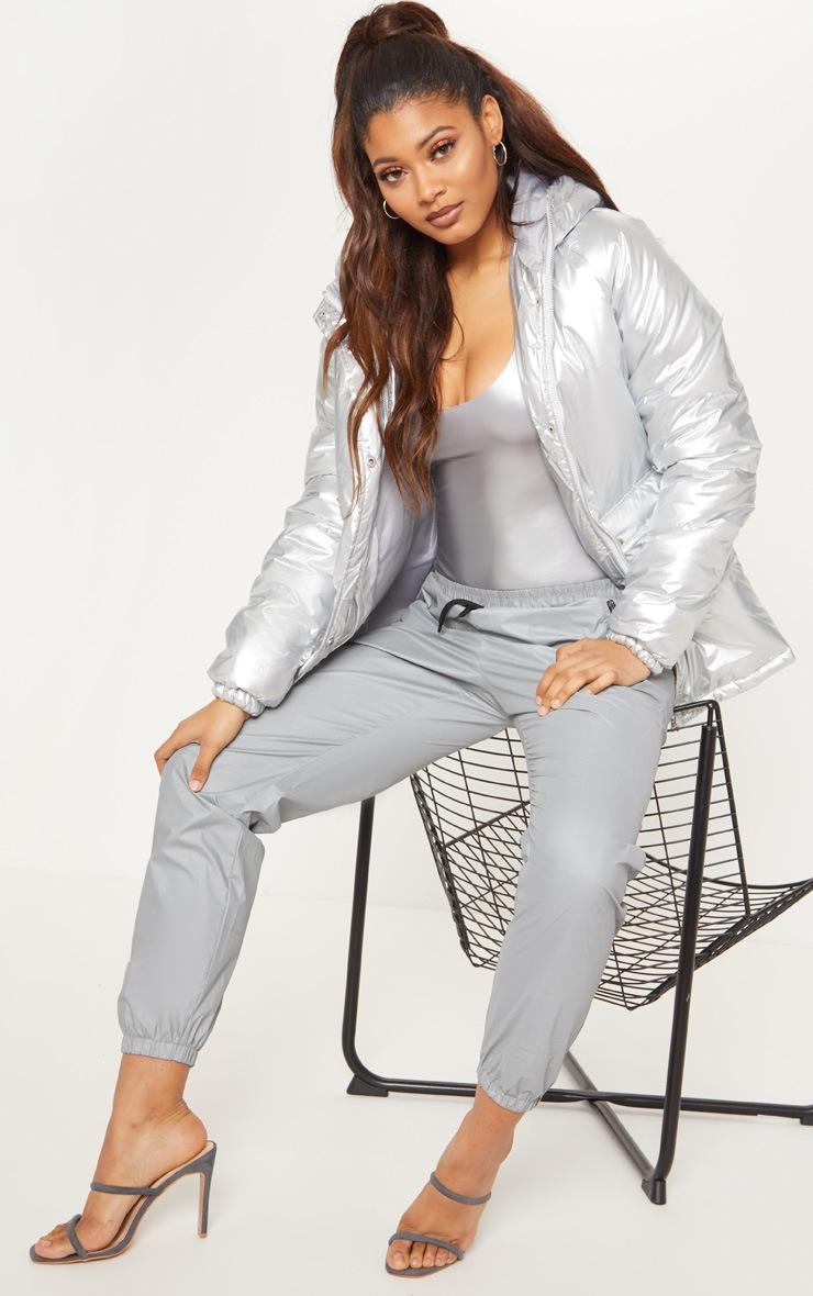Tall Silver Metallic Puffer Coat 4