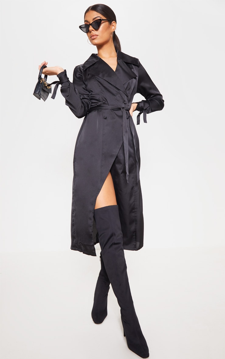 Black Satin Midaxi Trench Dress by Prettylittlething