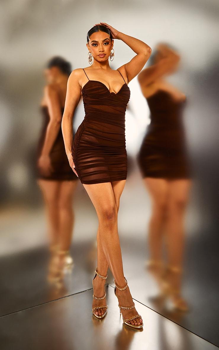 Brown Ruched Mesh Underwire Bodycon Dress 4