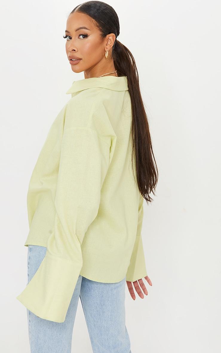 Tall Green Linen Look Wide Sleeve Shirt 2