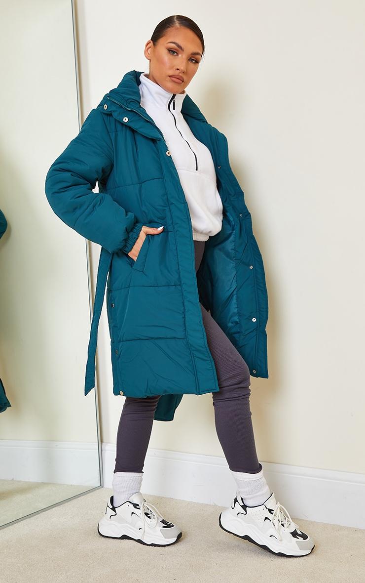 Teal Nylon Fanny Pack Hooded Panel Midi Puffer Jacket 3