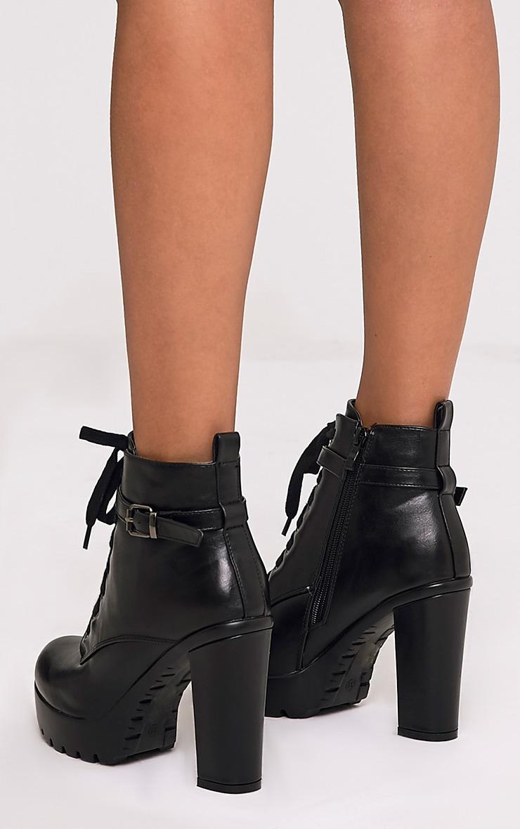 Audrinna Black Lace Platform Ankle Boots 4