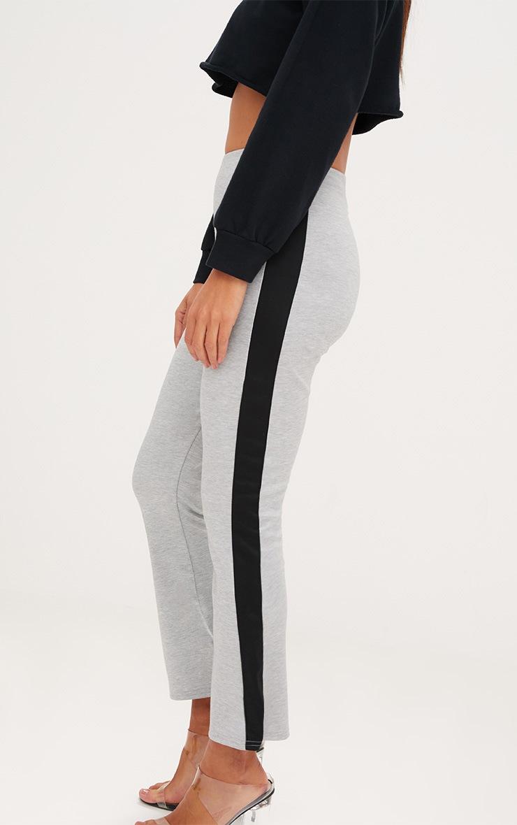 Grey Track Stripe Kick Flare Trousers 5