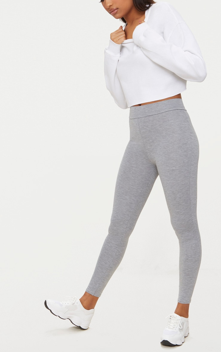 Dabria Grey High Waisted Jersey Leggings 4