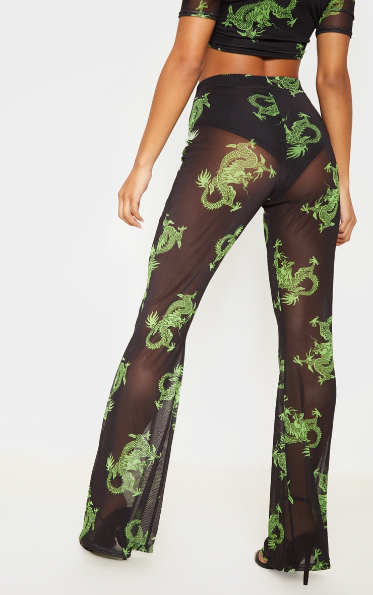 Green Dragon Printed Sheer Mesh Flare 4