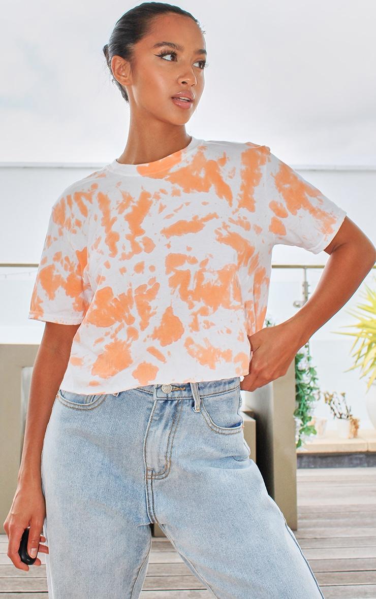 Petite Orange Tie Dye Cropped T Shirt 1