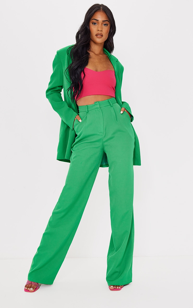 Tall Green Highwasited Suit Pants 1