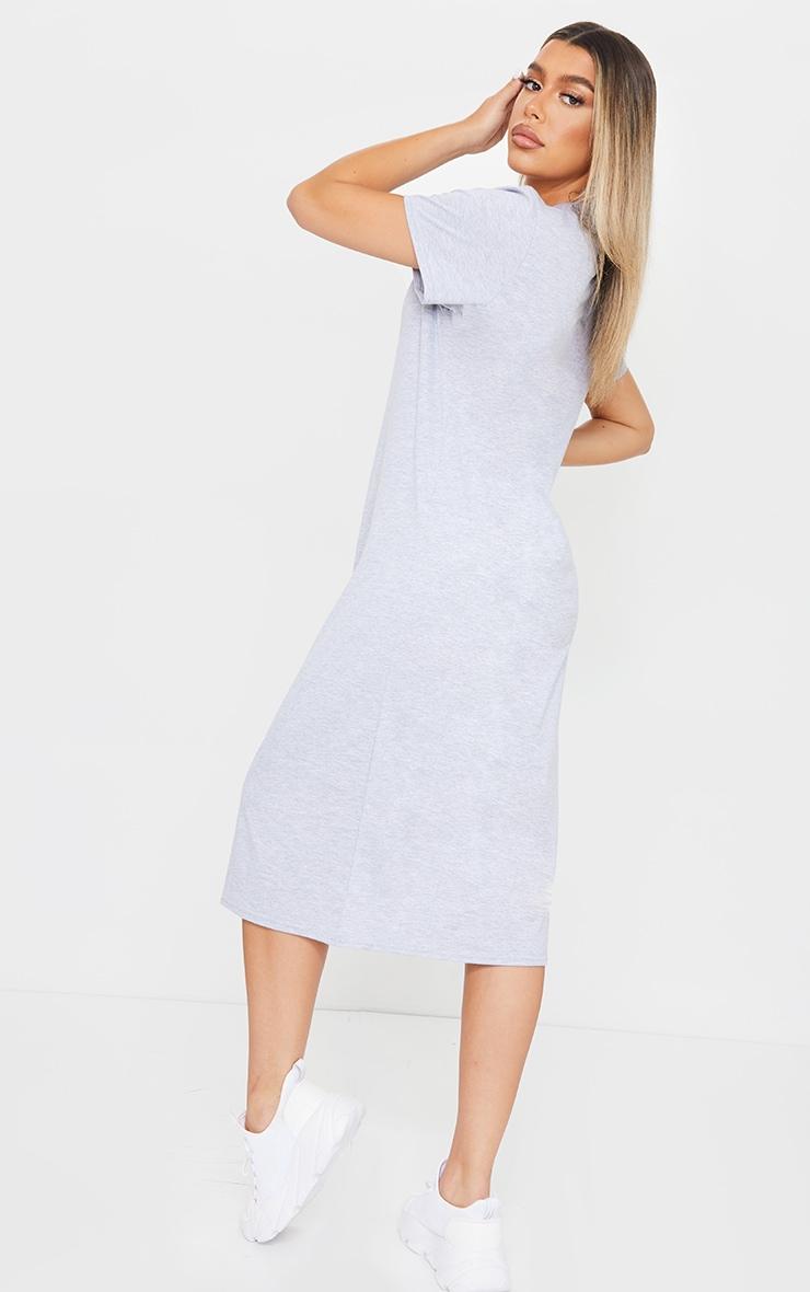 PRETTYLITTLETHING Grey Midi T Shirt Dress 2