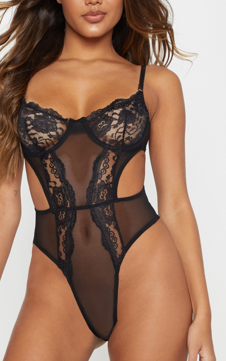 Black Lace Cup Cut Out High Leg Body 7