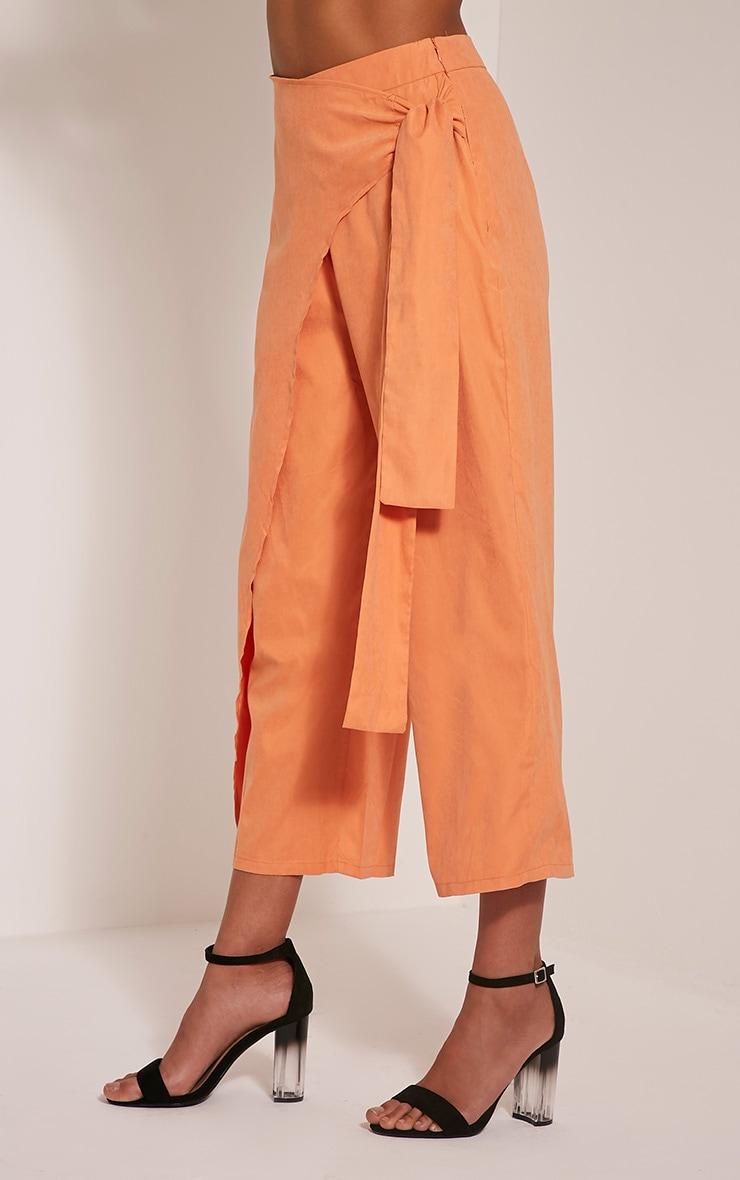 Shirley Pastel Orange Wrap Tie Culottes 4