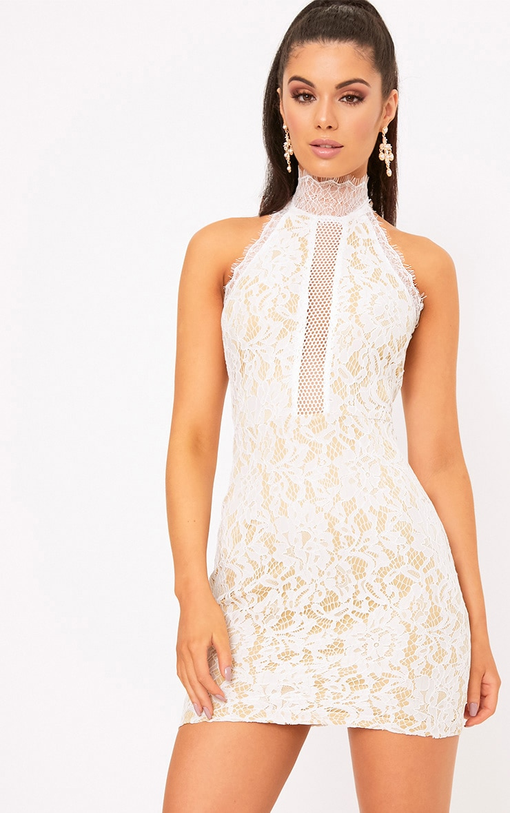 Shelby White Lace High Neck Bodycon Dress 1