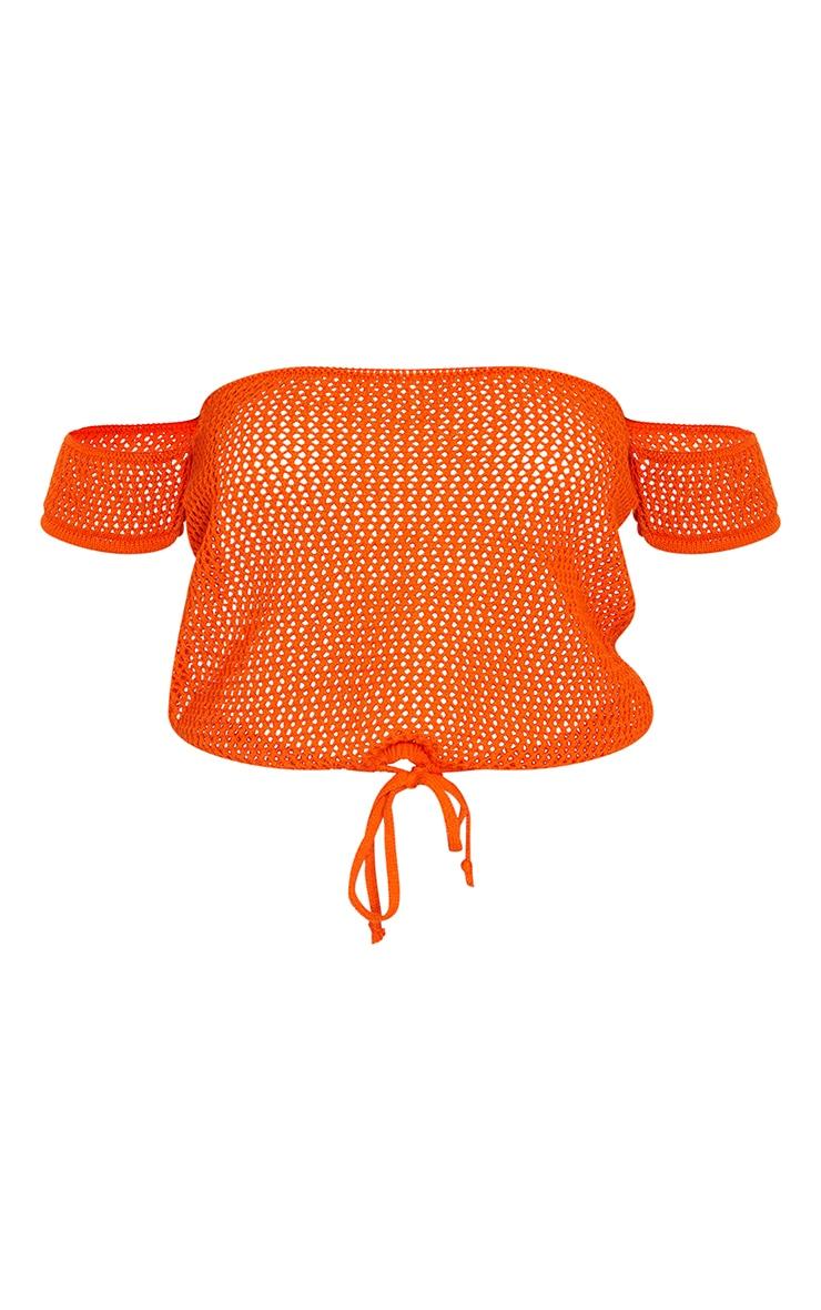 Orange Crochet Tie Waist Knitted Top 5