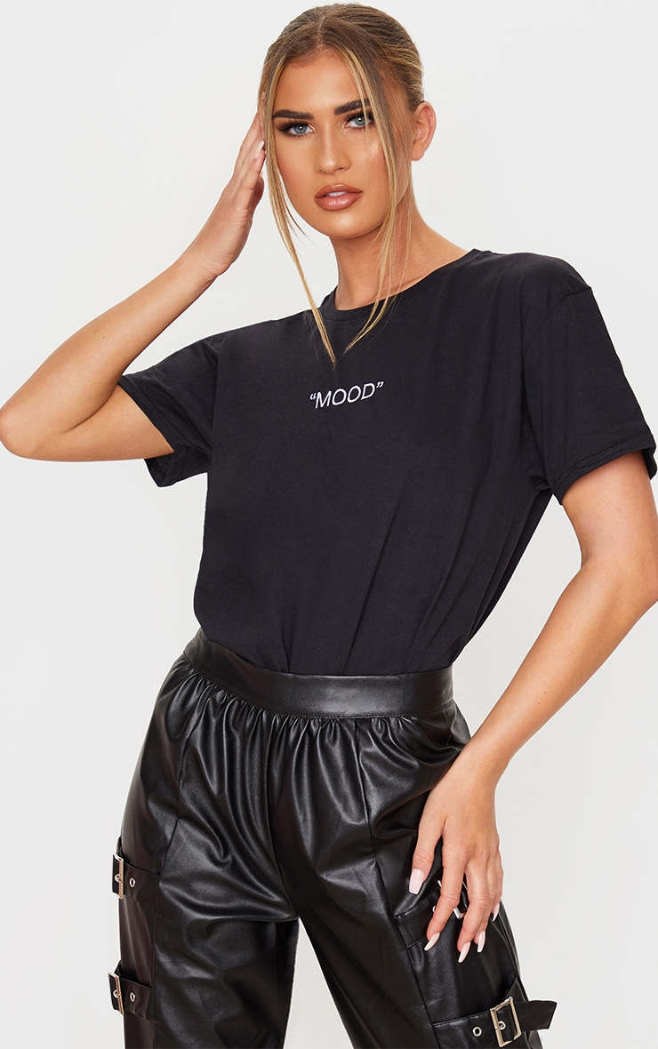 Black Mood Slogan Embroidered T Shirt 1
