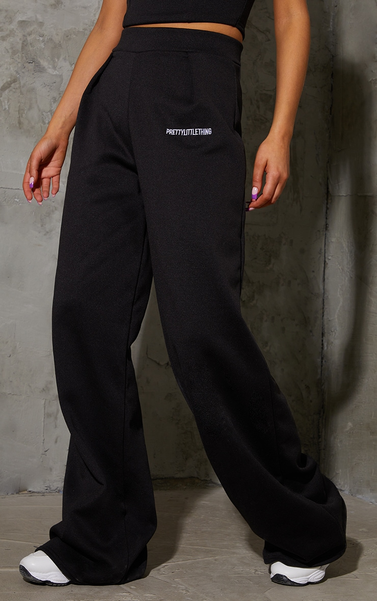 PRETTYLITTLETHING Black Embroidered Wide Leg Joggers 2