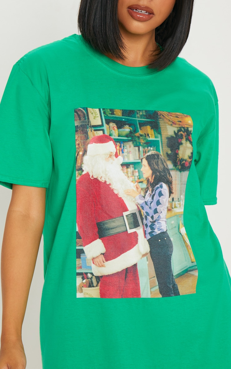 Green Friends Santa Printed T shirt 5