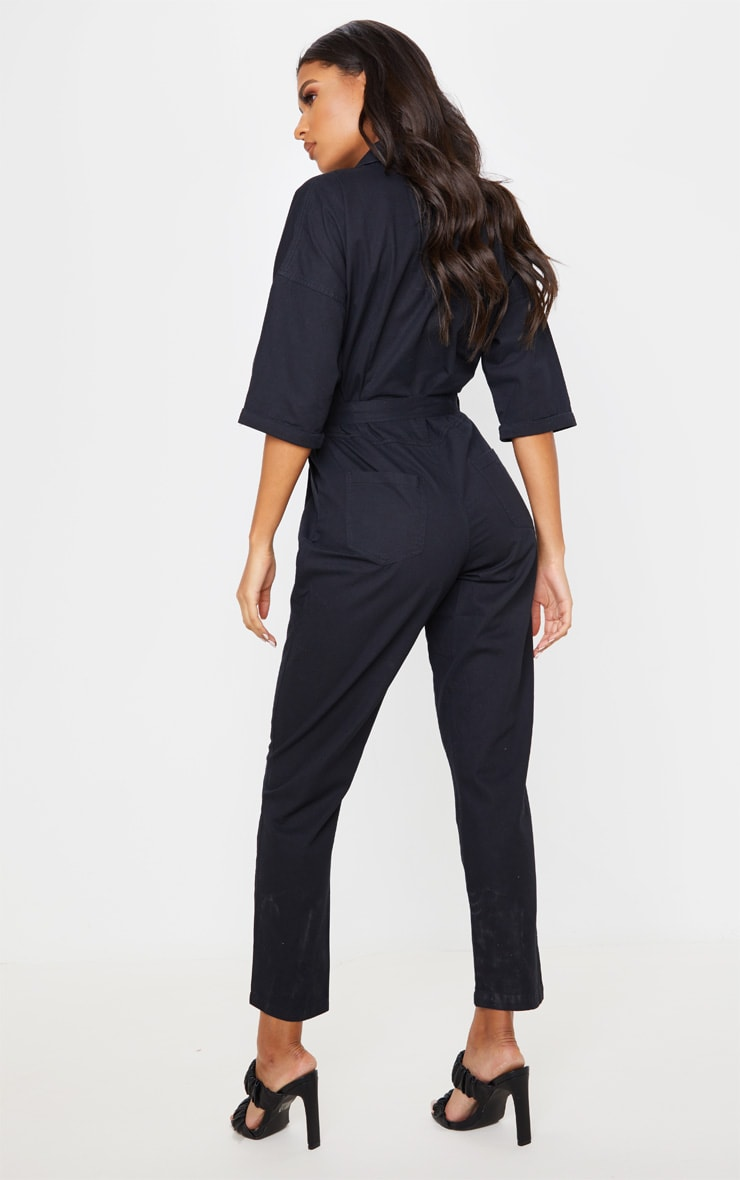 Black Denim Utility Jumpsuit 2