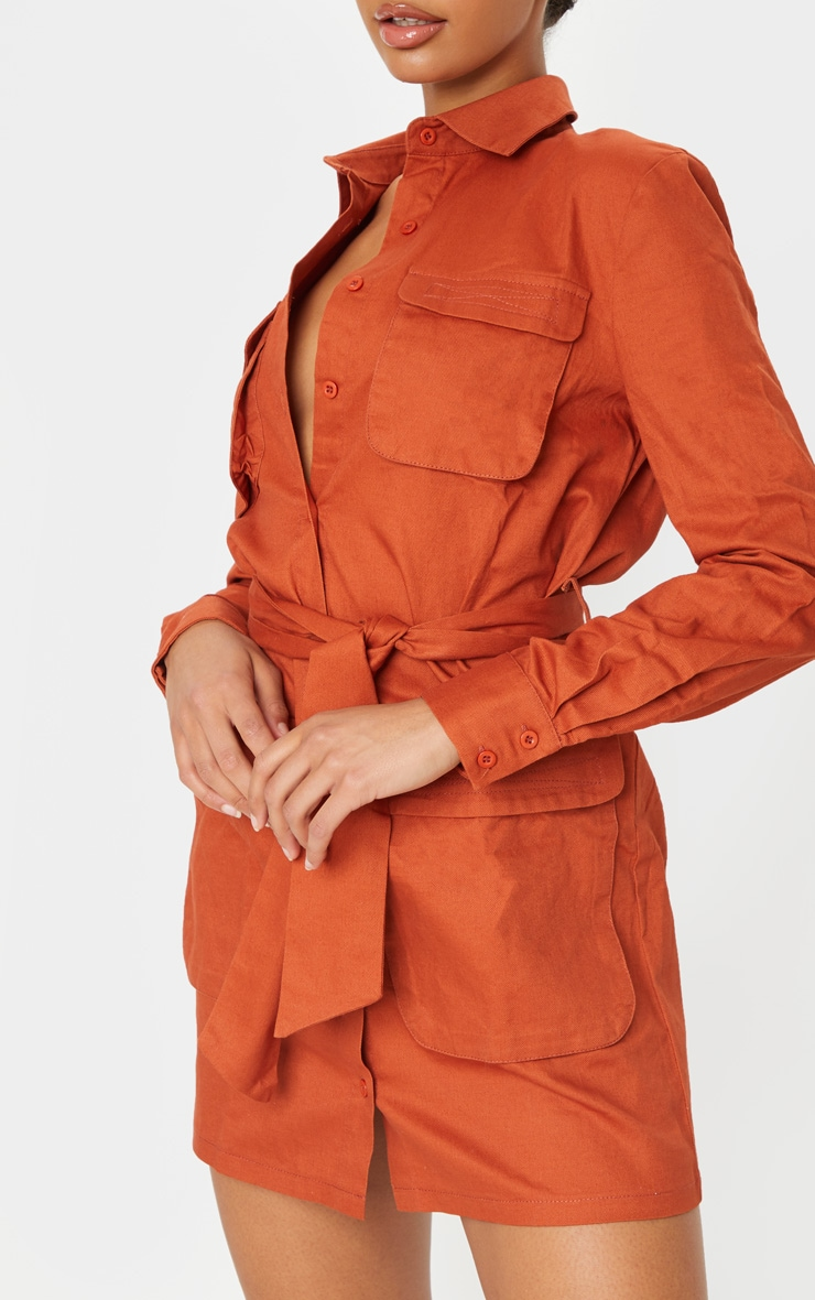 Terracotta Utility Tie Waist Shirt Dress 4