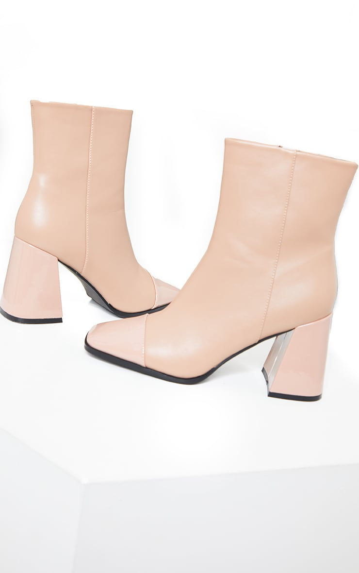Beige Square Toe Mid Flare Block Heels Ankle Boots 3