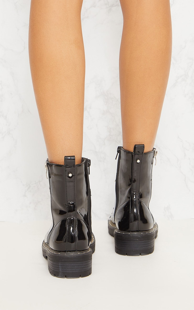 Black Chunky Lace Up Boot 5