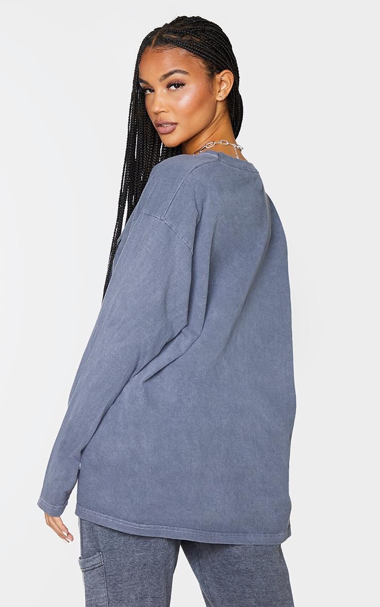 Black Wyoming Printed Washed Long Sleeve T Shirt 2