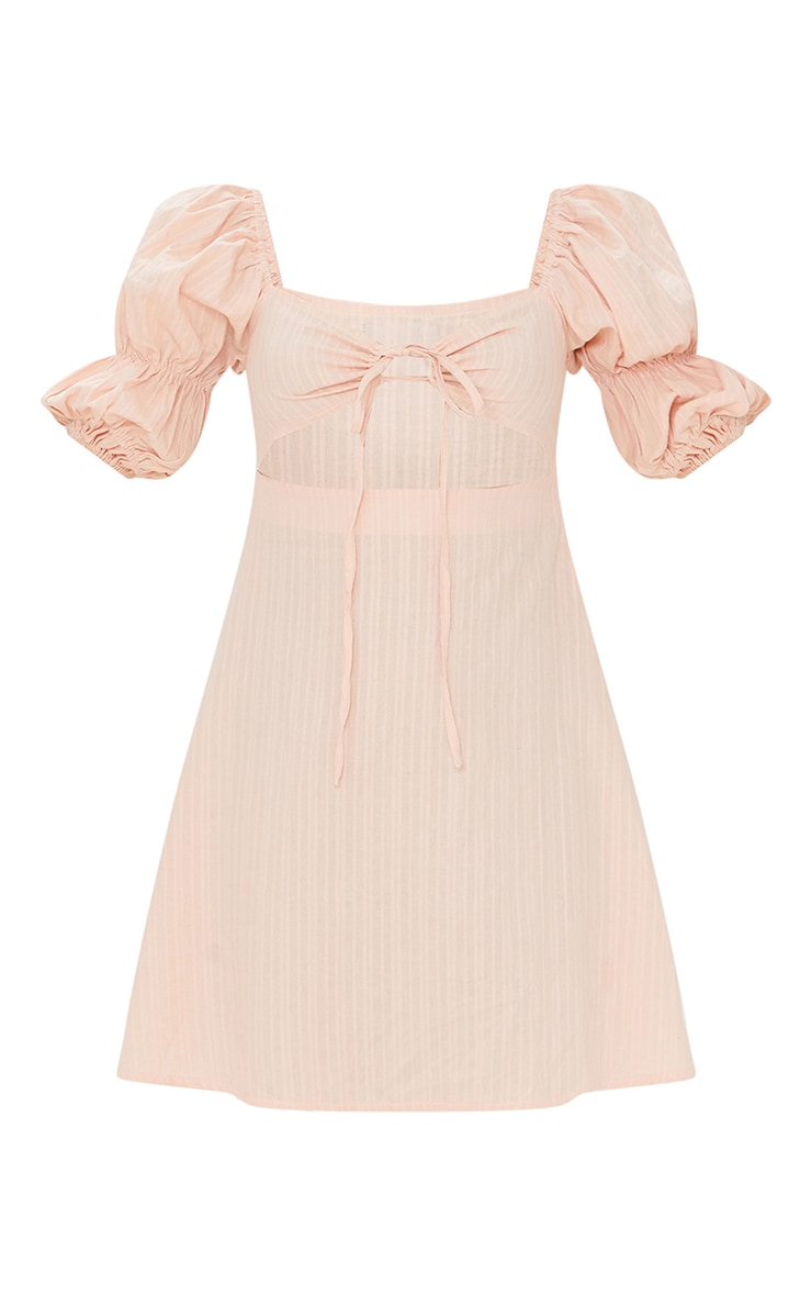 Stone Woven Tie Detail Cut Out Puff Sleeve Shift Dress 5