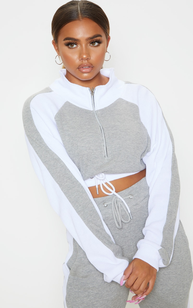 Grey Waffle Knit High Neck Side Stripe Sweater 1