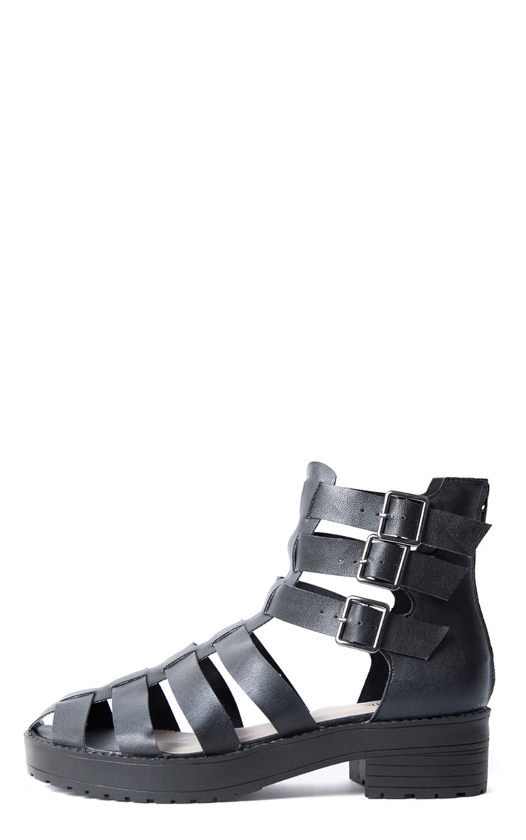 Riley Black Three Buckle Roman Sandal 1