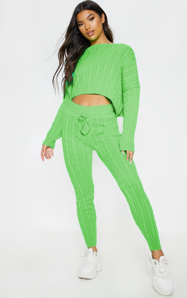 Neon Lime Cable Knit Jumper & Legging Set 1