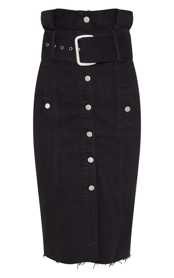 Black Belted Button Through Midi Skirt 3